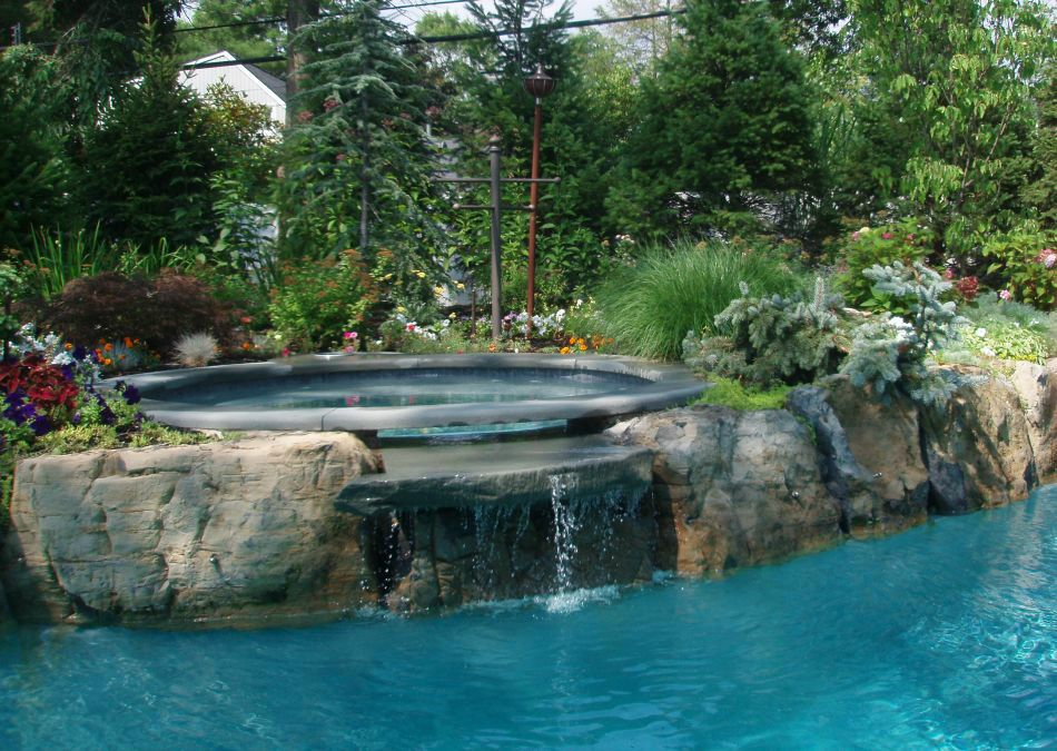 Plantings around waterfall and Jacuzzi